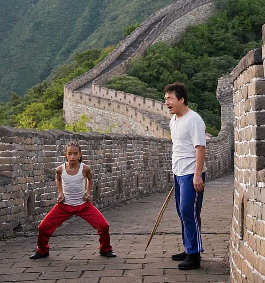 "Jaden Smith as 'Dre' and Jackie Chan as 'Mr. Han' on the Great Wall of China in ""The Karate Kid."" Jaden Smith as ""Dre"" and Jackie Chan as ""Mr. Han"" on the Great Wall of China in Columbia Pictures' KARATE KID. Photo: Courtesy Of Columbia Pictures"