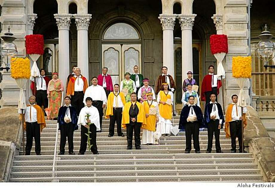 The opening ceremonies of the 2006 Aloha Festivals take place on the steps of 'Iolani Palace, with the O'ahu Royal Court in costumes flanked by kahilis, the feathered royal standards. The Aloha Festivals are a statewide series of cultural celebrations in Hawaii from late August to late October. Photo: Aloha Festivals