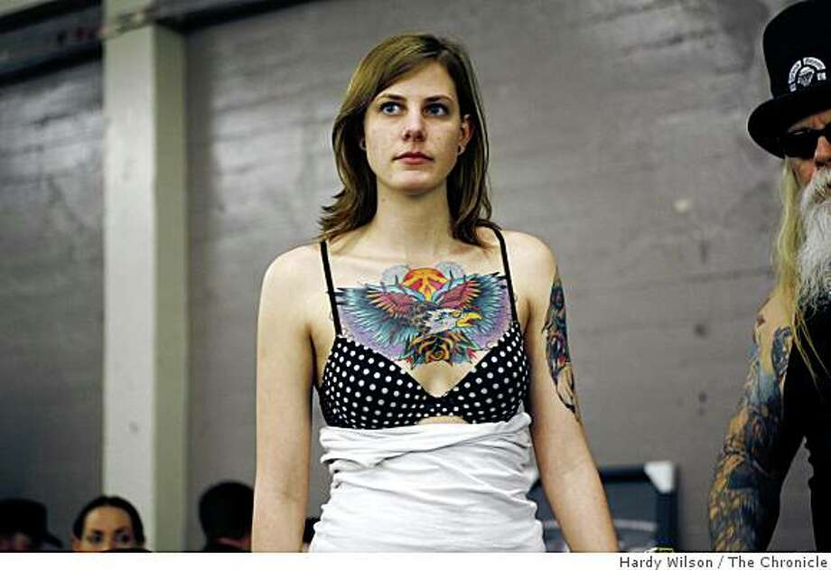 Stephanie White, of Chicago, Ill., waits for her name to be called during a tattoo contest at the Body Art Expo at the Cow Palace in San Francisco, Calif., on Saturday, March 7, 2009. Photo: Hardy Wilson, The Chronicle