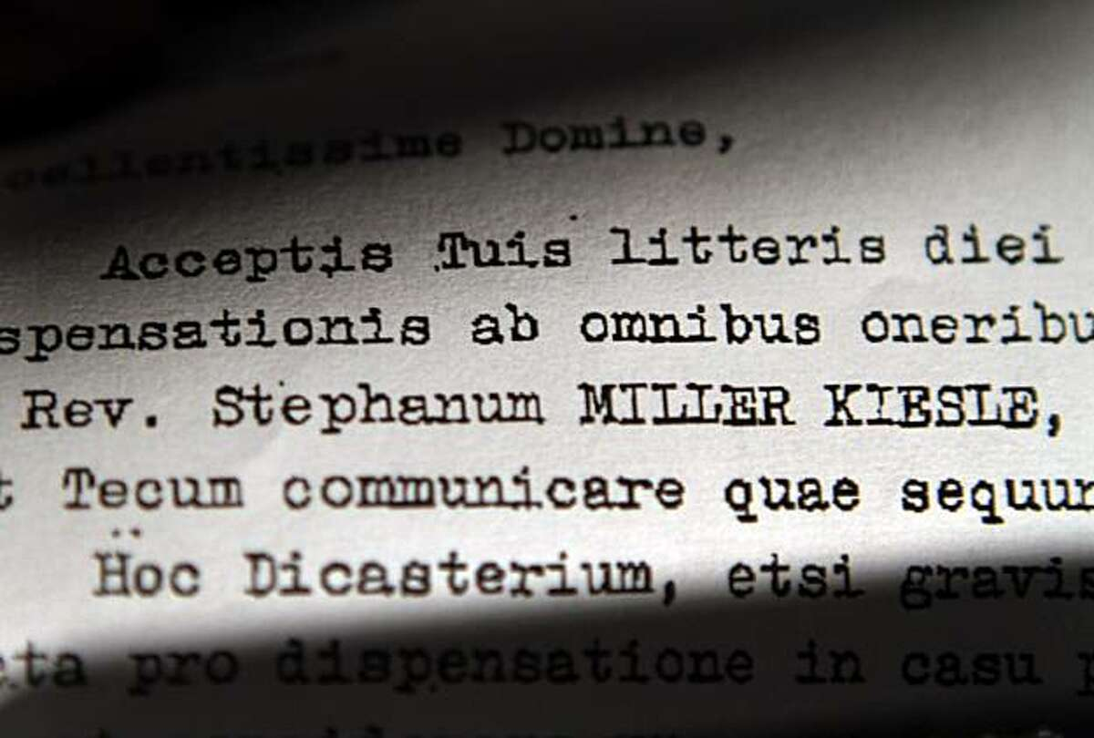 This Friday, April 9, 2010 photo shows a detail of a 1985 letter obtained by the Associated Press signed by then-Cardinal Joseph Ratzinger, then-head of the Vatican's Congregation for the Doctrine of the Faith, part of years of correspondence between theVatican and the Oakland, Calif. diocese. The future Pope Benedict XVI resisted defrocking California priest Rev. Stephen Kiesle, who had a record of sexually molesting children, citing concerns including