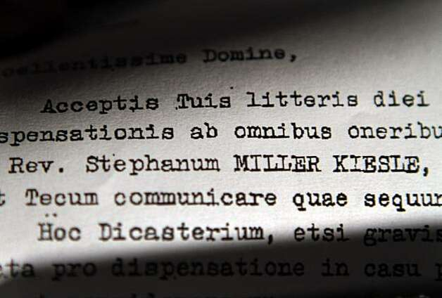 "This Friday, April 9, 2010 photo shows a detail of a 1985 letter obtained by the Associated Press signed by then-Cardinal Joseph Ratzinger, then-head of the Vatican's Congregation for the Doctrine of the Faith, part of years of correspondence between theVatican and the Oakland, Calif. diocese. The future Pope Benedict XVI resisted defrocking California priest Rev. Stephen Kiesle, who had a record of sexually molesting children, citing concerns including ""the good of the universal church,"" according to the letter. Photo: Kim Johnson, Associated Press"