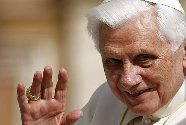 In this March 31, 2010 photo, Pope Benedict XVI waves as he is driven through the crowd during his weekly general audience, in St. Peter's Square, at the Vatican.   The uproar caused by reports that, as an archbishop years ago in Germany and lateras a Vatican cardinal, Benedict and his aides were slow to defrock abusive priests, cannot be explained as the church equivalent of Watergate with the pope in the role of U.S. president. Photo: Pier Paolo Cito, AP