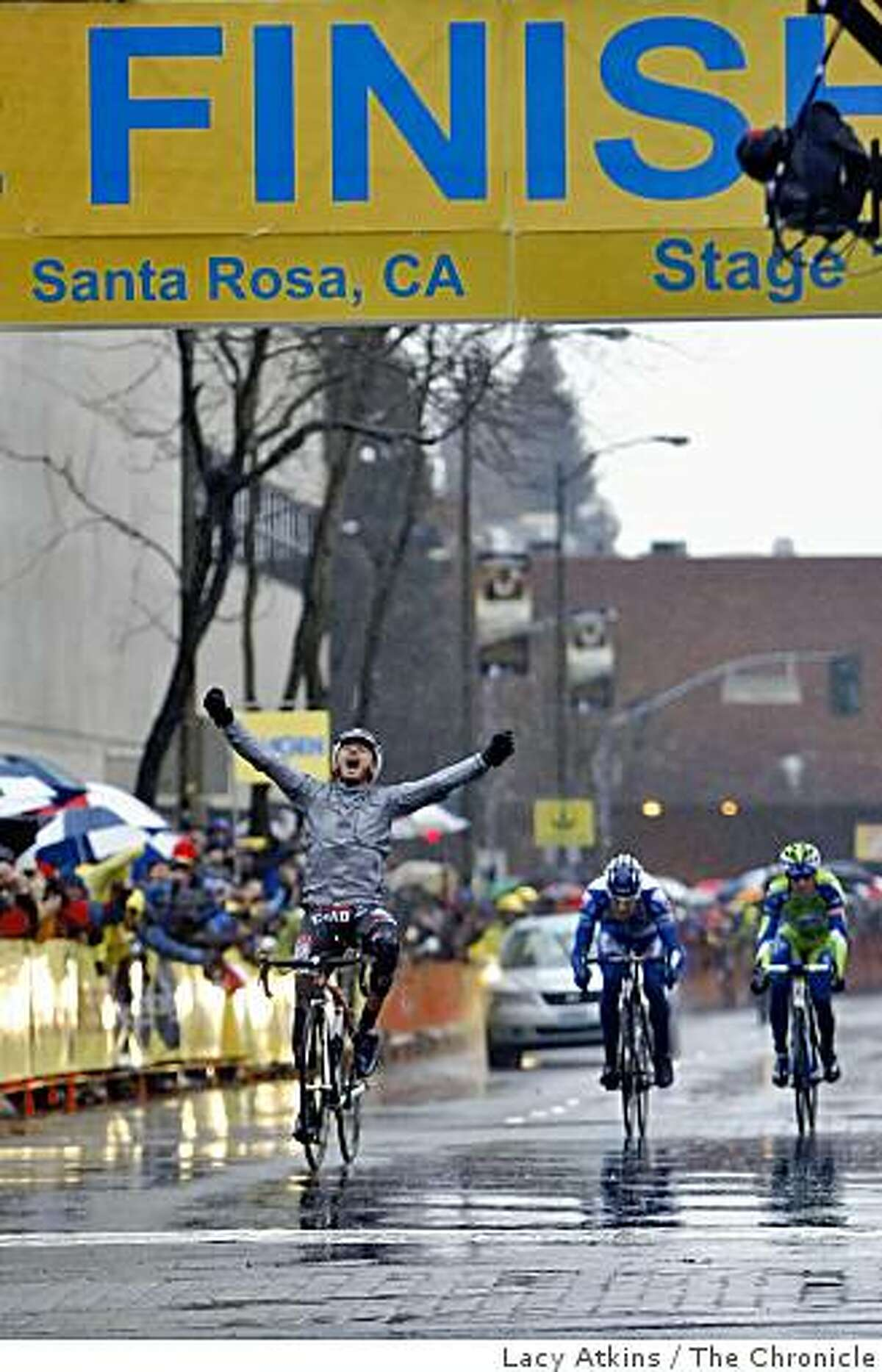 Professional cyclist Francisco Mancebo crosses the finish line as the winner of the first stage of the Amgen Tour of California, Sunday Feb. 15, 2009, in Santa Rosa, Calif.