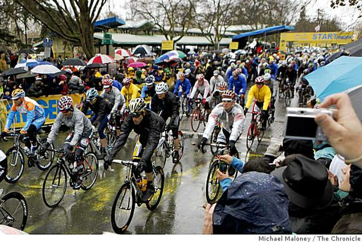 Riders start Stage 1 of the 2009 Amgen Tour of California bicycle race, in Davis, Calif., on Sunday, February 15, 2009 headed to the finish in Santa Rosa.