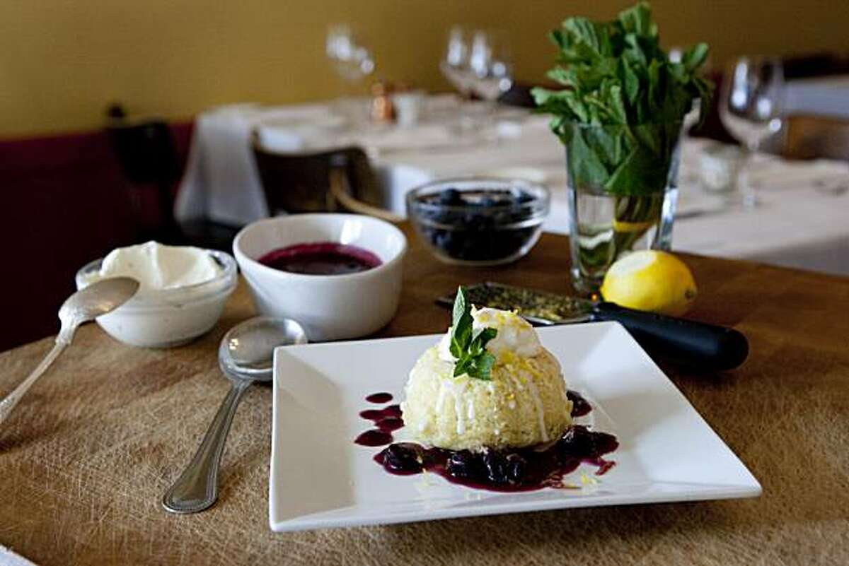 Pastry chef Rebecca Rader's Meyer Lemon Tea Cake with Blueberry Compote at Frascati in San Francisco, Calif., on April 5, 2010