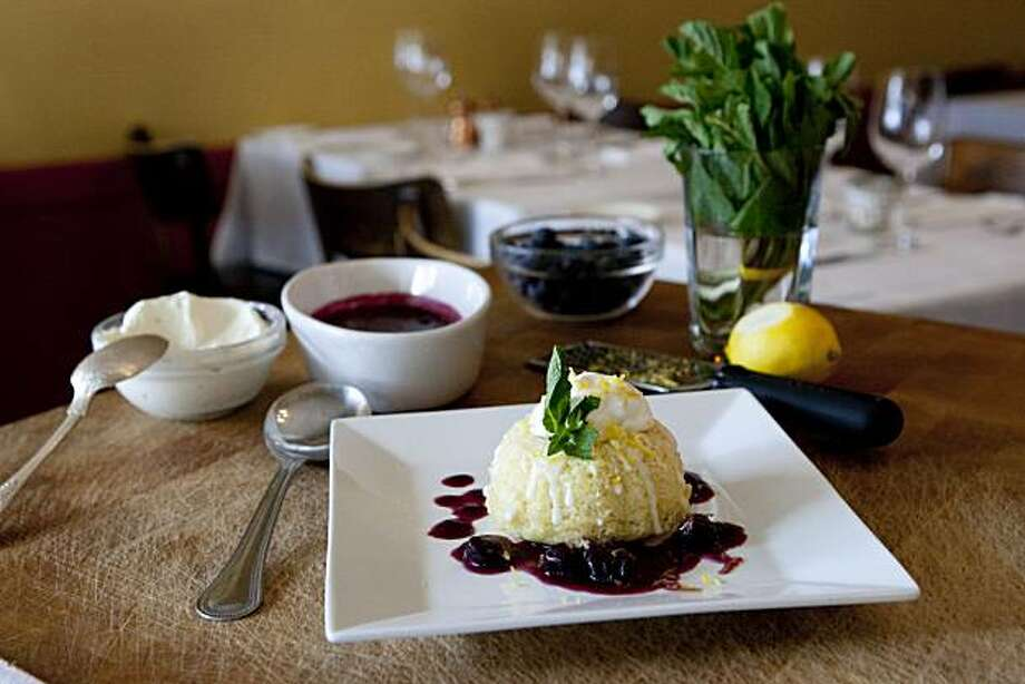 Pastry chef Rebecca Rader's Meyer Lemon Tea Cake with Blueberry Compote at Frascati in San Francisco, Calif., on April 5, 2010 Photo: Laura Morton, Special To The Chronicle