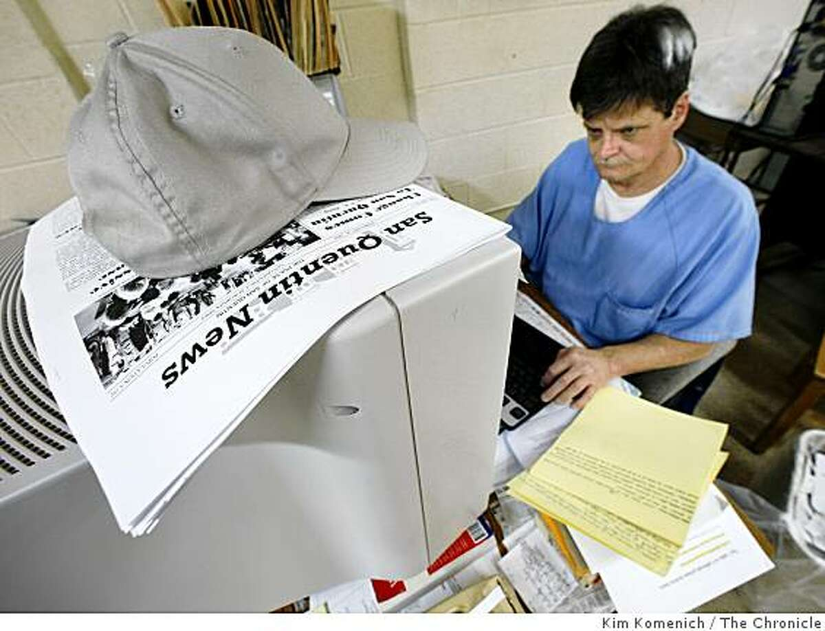 Staff Writer inmate David Marsh works on news items for the San Quentin News on Tuesday, Mar. 17, 2009. The San Quentin News is a monthly newspaper written, edited and produced by inmates at San Quentin State Prison in San Quentin, Calif. It has a circulation of about 5,000.