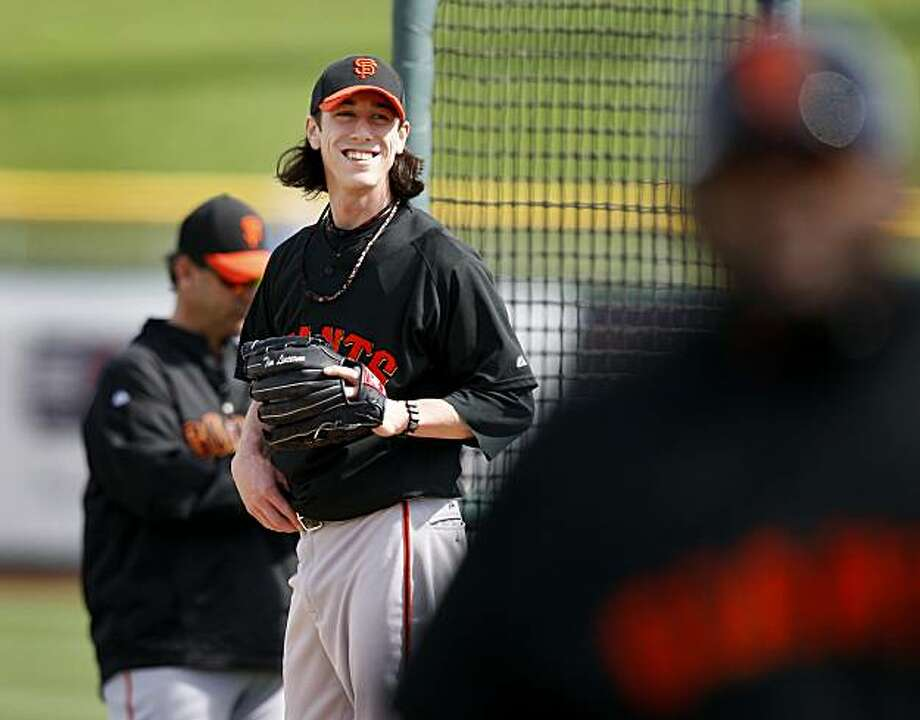 Tim Lincecum smiled as Pablo Sandoval left the batting cage.  Sandoval was unable to get good hits off Lincecum during this at bat Wednesday February 24, 2010. Scenes from the San Francisco Giants and Oakland Athletics spring training campaigns of 2010 in Scottsdale and Phoenix, Arizona. Photo: Brant Ward, The Chronicle