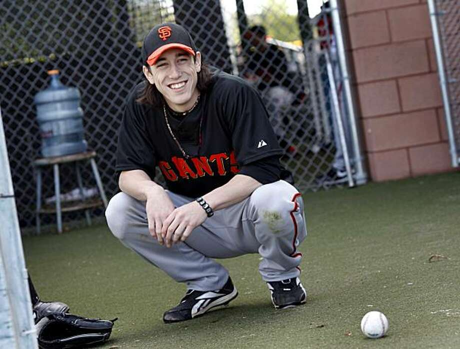 Giants' ace Tim Lincecum was mistaken for an autograph hound recently when he met up with teammate Barry Zito in the lounge at San Francisco's Michael Mina. Photo: Brant Ward, The Chronicle