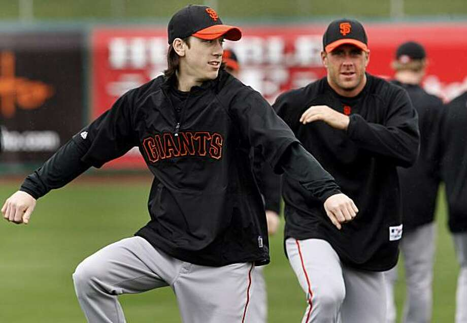 Giants pitchers Tim Lincecum (left) and Brian Wilson (right) worked on drills Monday February 22, 2010. Scenes from the San Francisco Giants and Oakland Athletics spring training campaigns of 2010 in Scottsdale and Phoenix, Arizona. Photo: Brant Ward, The Chronicle