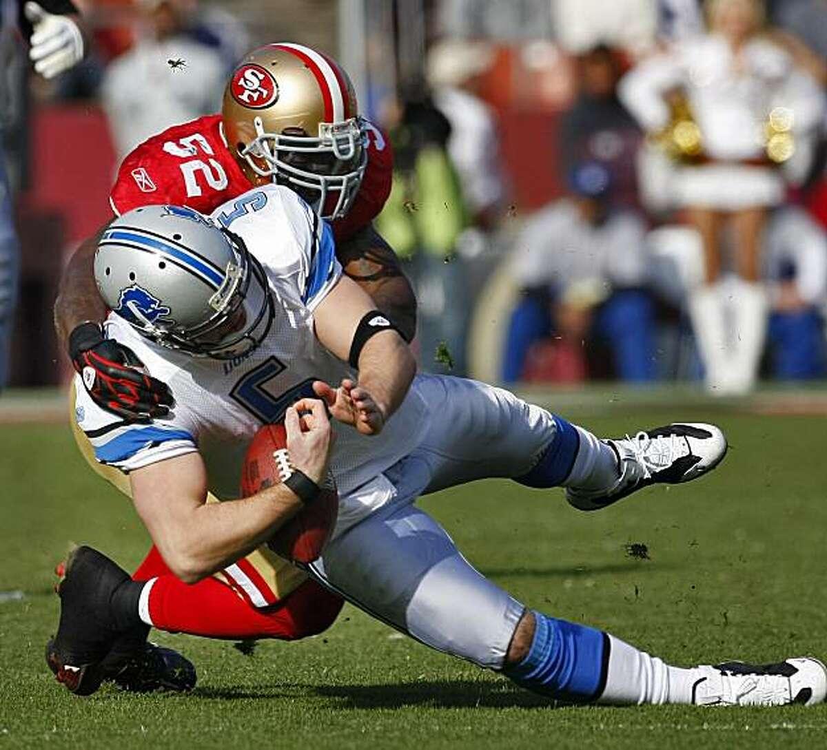 San Francisco 49ers Patrick Willis sacks Detroit Lions quarterback Drew Stanton in the first half of the games, Sunday Dec. 27, 2009, in San Francisco, Calif.