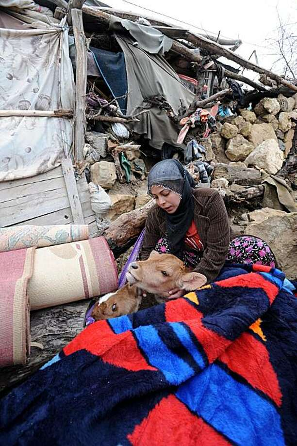 A woman pets animals as she sits among debris in front of a destroyed barn whose roof caved in on animals in the village of Okcular, on March 8, 2010.A powerful pre-dawn earthquake buried sleeping villagers in remote eastern Turkey, claiming at least 51 lives and leaving dozens injured, officials said.  Measuring 6.0 on the Richter scale, the tremor struck at 4:32 am (0232 GMT), razing mud-brick houses in five mountainous villages in a mainly Kurdish area and killing whole families in their beds. Photo: Str, AFP / Getty Images