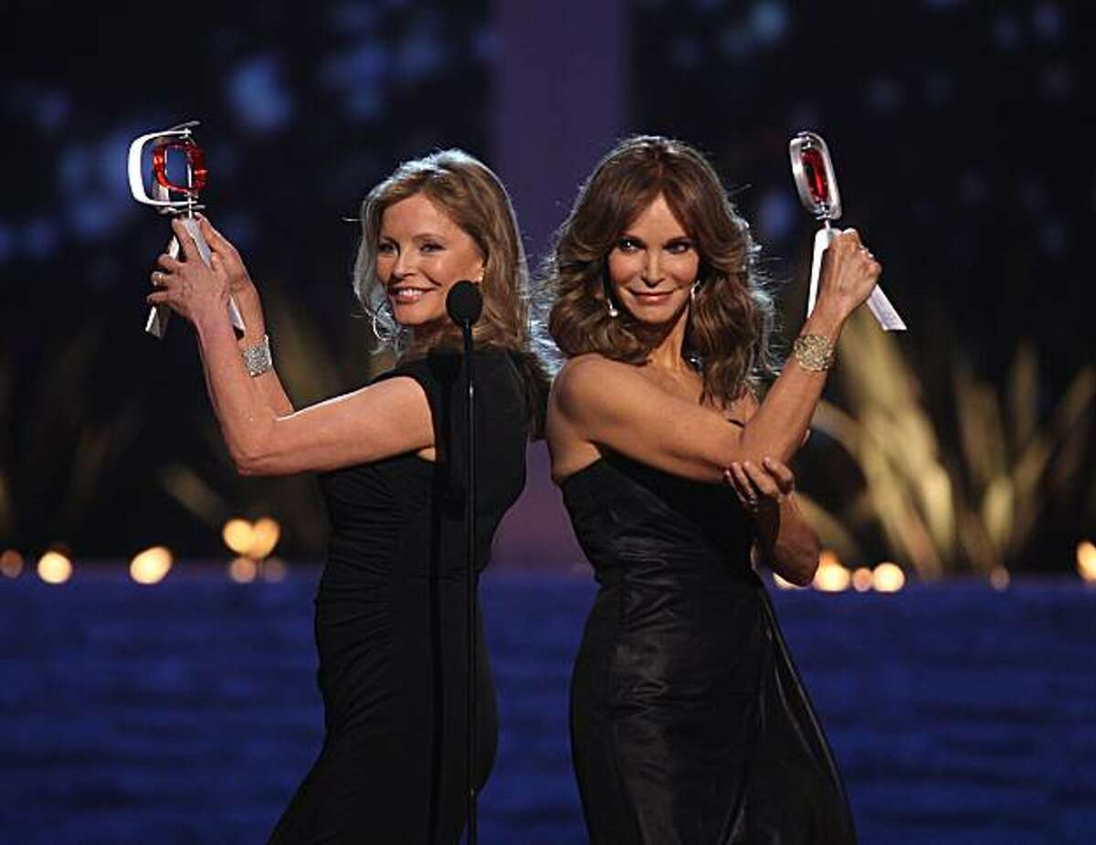 Charlie's Angles; Cheryl Ladd,left, and Jaclyn Smith,right, accept the Pop Culture Award at the eighth annual TV Land Awards on Saturday, April 17, 2010, in Los Angeles.