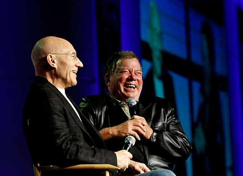 Patrick Stewart and William Shatner answer questions from their fans at the Star Trek Convention on Sunday in San Francisco. Photo: Lacy Atkins, The Chronicle