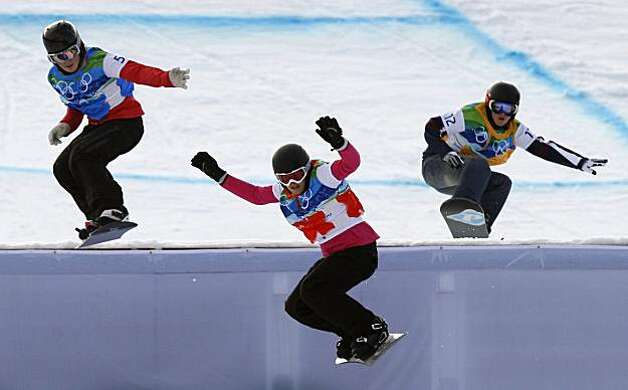 From left, Helene Olafsen of Norway, Olivia Nobs of Switzerland and Faye Gulini of the United States compete in the quarterfinal round of the women's snowboard cross competition in the Winter Olympic Games at Cypress Mountain in West Vancouver, British CFrom left, Helene Olafsen of Norway, Olivia Nobs of Switzerland and Faye Gulini of the United States compete in the quarterfinal round of the women's snowboard cross competition in the Winter Olympic Games at Cypress Mountain in West Vancouver, British Columbia, on Tuesday, Feb. 16, 2010. Photo: Paul Chinn, The Chronicle