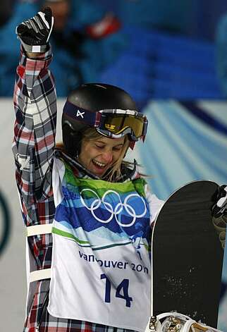 Hannah Teter of the United States celebrates her silver medal-winning score of 42.4 in the womens snowboard halfpipe competition at the Winter Olympic Games in West Vancouver, British Columbia, on Thursday, Feb. 18, 2010.Hannah Teter of the United States celebrates her silver medal-winning score of 42.4 in the womens snowboard halfpipe competition at the Winter Olympic Games in West Vancouver, British Columbia, on Thursday, Feb. 18, 2010. Photo: Paul Chinn, The Chronicle