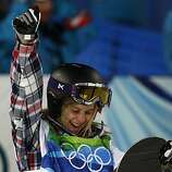 Hannah Teter of the United States celebrates her silver medal-winning score of 42.4 in the womens snowboard halfpipe competition at the Winter Olympic Games in West Vancouver, British Columbia, on Thursday, Feb. 18, 2010.Hannah Teter of the United States celebrates her silver medal-winning score of 42.4 in the womens snowboard halfpipe competition at the Winter Olympic Games in West Vancouver, British Columbia, on Thursday, Feb. 18, 2010.