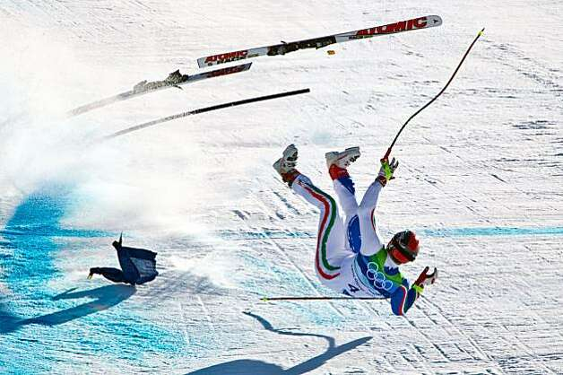 Italy's Peter Fill crashes near the finish of the mens' alpine skiing Super G at the 2010 Winter Olympics on Friday, Feb. 19, 2010, in Whistler. ( Smiley N. Pool / Houston Chronicle)Italy's Peter Fill crashes near the finish of the mens' alpine skiing Super G at the 2010 Winter Olympics on Friday, Feb. 19, 2010, in Whistler. Photo: Smiley N. Pool, Chronicle Olympic Bureau
