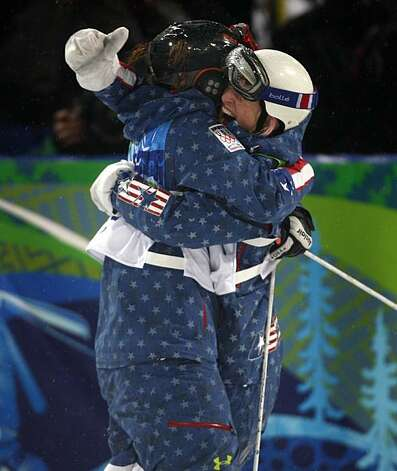 United States teammates Hannah Kearney (left) and Shannon Bahrke embrace after winning the gold and bronze respectively in the final round of the womens mogul competition of the 2010 WInter Olympic Games at Cypress Mountain ski area in West Vancouver, B.United States teammates Hannah Kearney (left) and Shannon Bahrke embrace after winning the gold and bronze respectively in the final round of the womens mogul competition of the 2010 WInter Olympic Games at Cypress Mountain ski area in West Vancouver, B.C., on Friday, Feb. 12, 2010. Photo: Paul Chinn, The Chronicle