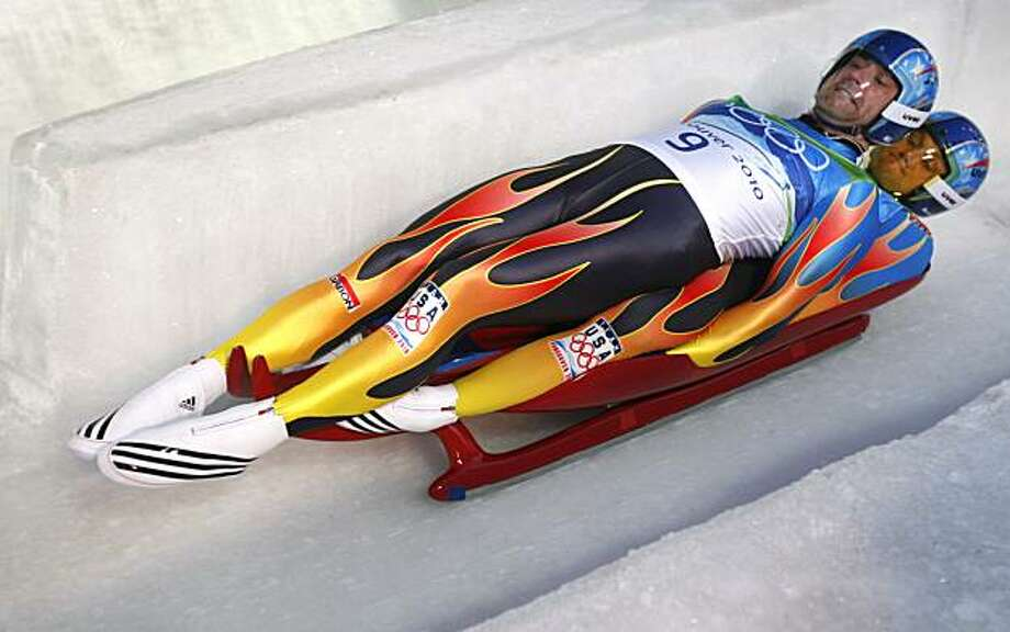Mark Grimmette (front) and his teammate Brian Martin of the United States start their first run in the mens double luge competition at the Winter Olympic Games in Whistler, British Columbia, on Wednesday, Feb. 17, 2010. Paul Chinn/Chronicle Olympic BureaMark Grimmette (front) and his teammate Brian Martin of the United States start their first run in the mens double luge competition at the Winter Olympic Games in Whistler, British Columbia, on Wednesday, Feb. 17, 2010. Photo: Paul Chinn, The Chronicle