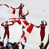 Team Canada celebrates winning the men's 5000 meter relay in short track speedskating at the 2010 Winter Olympics on Friday, Feb. 26, 2010, in Vancouver.  Canada took the gold.  Korea took the silver.  The USA won bronze, giving USA's Apolo Anton Ohno hisTeam Canada celebrates winning the men's 5000 meter relay in short track speedskating at the 2010 Winter Olympics on Friday, Feb. 26, 2010, in Vancouver.  Canada took the gold.  Korea took the silver.  The USA won bronze, giving USA's Apolo Anton Ohno his record eighth Olympic medal.