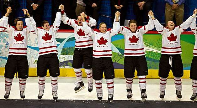 Canada players before receiving their medals after beating the USA in the women's gold medal hockey game at the 2010 Winter Olympics on Thursday, Feb. 25, 2010, in Vancouver.  ( Smiley N. Pool / Houston Chronicle)Canada players before receiving their medals after beating the USA in the women's gold medal hockey game at the 2010 Winter Olympics on Thursday, Feb. 25, 2010, in Vancouver. Photo: Smiley N. Pool, Chronicle Olympic Bureau