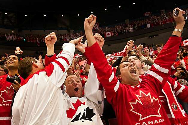 Canada, from left, Andy Hajak, Wolfgang Bauke and Hanif Nirani celebrate a goal in the first period Canada's 7-3 victory over Russia in men's hockey quarterfinal action at the 2010 Winter Olympics on Wednesday, Feb. 24, 2010, in Vancouver.  ( Smiley N. PoCanada, from left, Andy Hajak, Wolfgang Bauke and Hanif Nirani celebrate a goal in the first period Canada's 7-3 victory over Russia in men's hockey quarterfinal action at the 2010 Winter Olympics on Wednesday, Feb. 24, 2010, in Vancouver. Photo: Smiley N. Pool, Chronicle Olympic Bureau