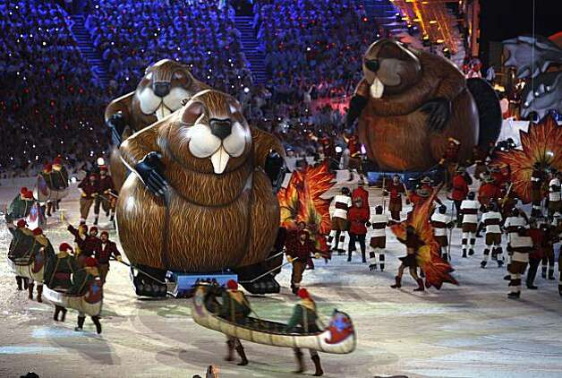 """Giant beavers parade around the stage to showcase things """"Made in Canada"""" during the Closing Ceremonies of the Winter Olympic Games in Vancouver, British Columbia, on Sunday, Feb. 28, 2010. Paul Chinn/Chronicle Olympic BureauGiant beavers parade around the stage to showcase things """"Made in Canada"""" during the Closing Ceremonies of the Winter Olympic Games in Vancouver, British Columbia, on Sunday, Feb. 28, 2010. Photo: Paul Chinn, The Chronicle"""