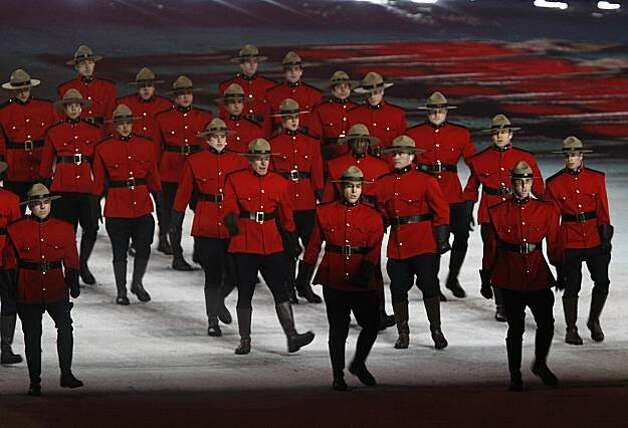 "Performers dressed as Mounties perform during a tribute to things ""Made in Canada"" at the Closing Ceremonies of the Winter Olympic Games in Vancouver, British Columbia, on Sunday, Feb. 28, 2010. Paul Chinn/Chronicle Olympic BureauPerformers dressed as Mounties perform during a tribute to things ""Made in Canada"" at the Closing Ceremonies of the Winter Olympic Games in Vancouver, British Columbia, on Sunday, Feb. 28, 2010. Photo: Paul Chinn, The Chronicle"