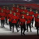 "Performers dressed as Mounties perform during a tribute to things ""Made in Canada"" at the Closing Ceremonies of the Winter Olympic Games in Vancouver, British Columbia, on Sunday, Feb. 28, 2010. Paul Chinn/Chronicle Olympic BureauPerformers dressed as Mounties perform during a tribute to things ""Made in Canada"" at the Closing Ceremonies of the Winter Olympic Games in Vancouver, British Columbia, on Sunday, Feb. 28, 2010."