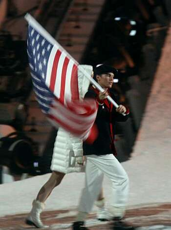 Nordic Combined athlete Bill DeMong carries out the American flag during the Closing Ceremonies of the Winter Olympic Games in Vancouver, British Columbia, on Sunday, Feb. 28, 2010. Paul Chinn/Chronicle Olympic BureauNordic Combined athlete Bill DeMong carries out the American flag during the Closing Ceremonies of the Winter Olympic Games in Vancouver, British Columbia, on Sunday, Feb. 28, 2010. Photo: Paul Chinn, The Chronicle