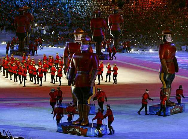 Performers dressed as Mounties entertain the audience at the Closing Ceremonies of the Winter Olympic Games in Vancouver, British Columbia, on Sunday, Feb. 28, 2010. Paul Chinn/Chronicle Olympic BureauPerformers dressed as Mounties entertain the audience at the Closing Ceremonies of the Winter Olympic Games in Vancouver, British Columbia, on Sunday, Feb. 28, 2010. Photo: Paul Chinn, The Chronicle