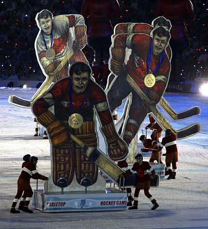 Large figures designed after old-fashioned tabletop hockey game players parade on stage during Closing Ceremonies of the Winter Olympic Games in Vancouver, British Columbia, on Sunday, Feb. 28, 2010. Paul Chinn/Chronicle Olympic BureauLarge figures designed after old-fashioned tabletop hockey game players parade on stage during Closing Ceremonies of the Winter Olympic Games in Vancouver, British Columbia, on Sunday, Feb. 28, 2010. Photo: Paul Chinn, The Chronicle