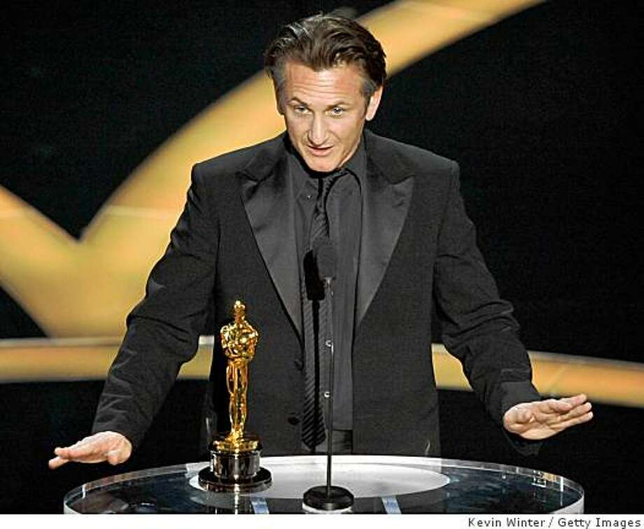 "Actor Sean Penn accepts his Best Actor award for ""Milk"" during the 81st Annual Academy Awards held at Kodak Theatre on February 22, 2009 in Los Angeles, California. Photo: Kevin Winter, Getty Images"