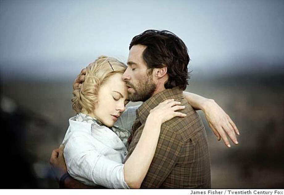 Sarah (Nicole Kidman) and The Drover (Hugh Jackman) find adventure and romance during their fateful journey across Australia. Photo: James Fisher, Twentieth Century Fox