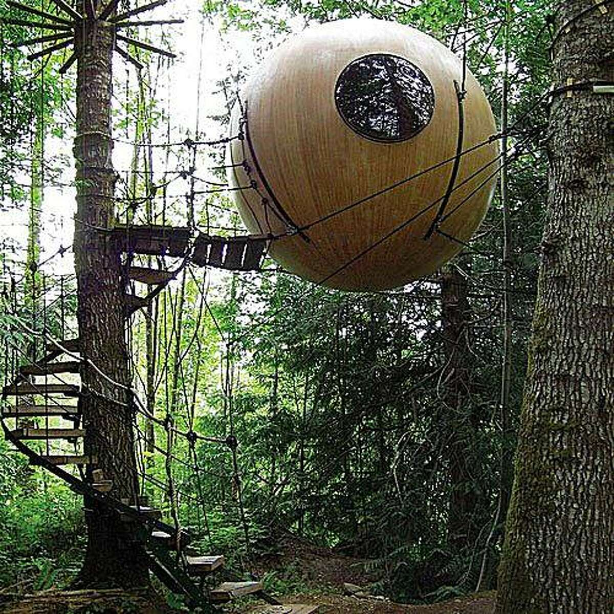 Eryn, above, is one of two spherical treehouses at Free Spirit Spheres.