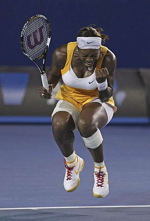 Serena Williams of the United States reacts to a point won against Justine Henin of Belgium, during the Women's singles final match at the Australian Open tennis championship in Melbourne, Australia, Saturday, Jan. 30, 2010. Photo: Mark Baker, AP