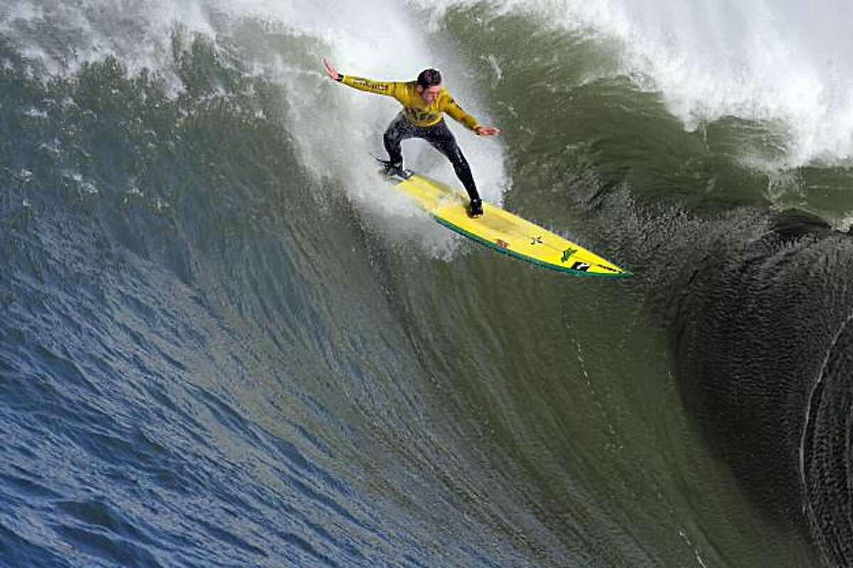 Ion Banner tries to catch a wave, but eventually wipes out on this one in the first heat. Surfers from around the globe braved the 50-foot-high swells at Mavericks Surf Contest in Half Moon Bay, Calif., on Saturday, February 13, 2010. Chris Bertish of South Africa was selected the winner.