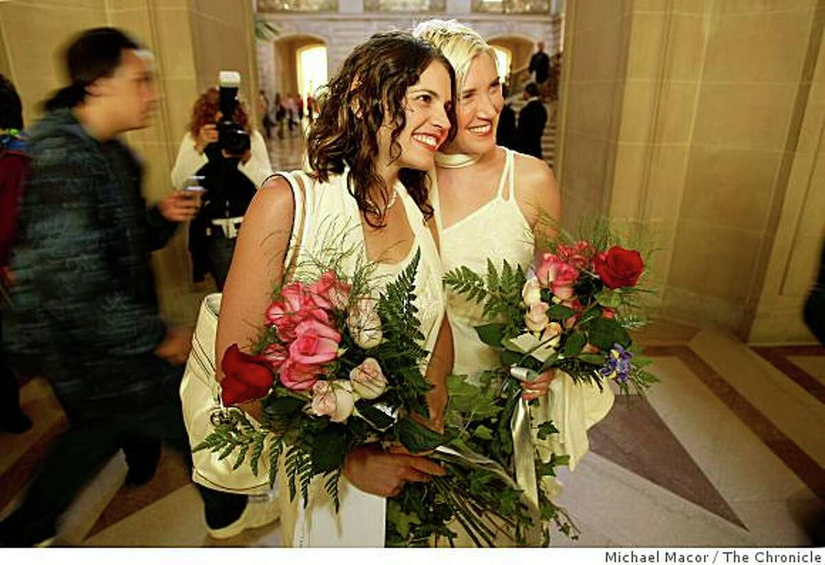 Wedding dresses in order for same-sex couple Sharon Papo and Amber Weiss as they wait for their ceremony to begin at San Francsico City Hall on June 17, 2008.Photo By Michael Macor/ The Chronicle