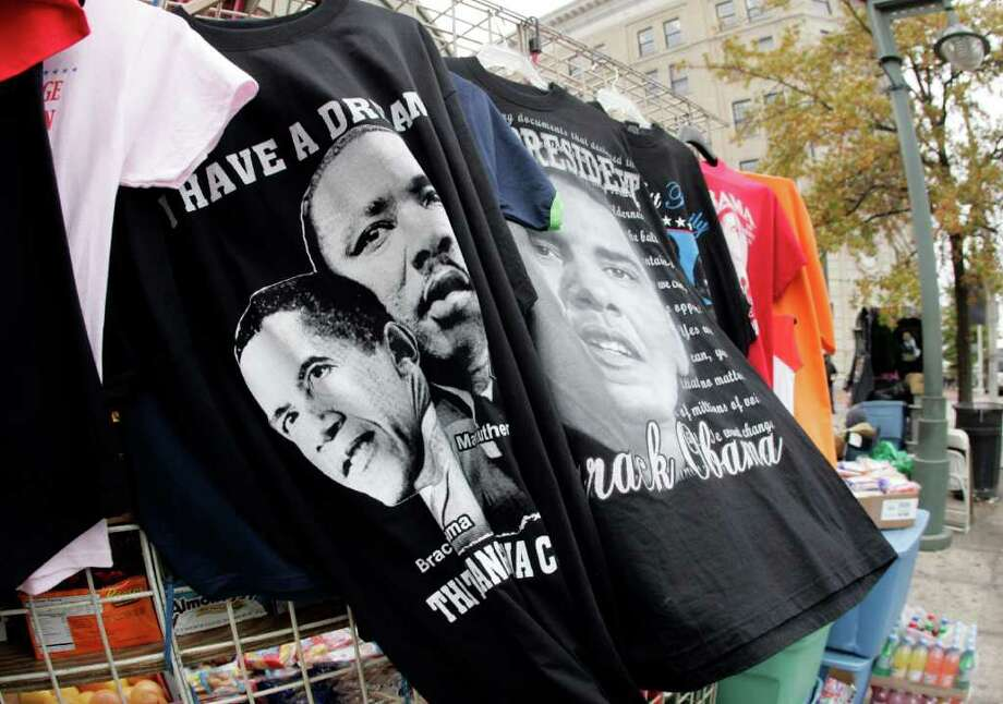T-shirts paired candidate Barack Obama and civil-rights leader Dr. Martin Luther King Jr. before the 2008 presidential election. Photo: Associated Press, File Photo / AP