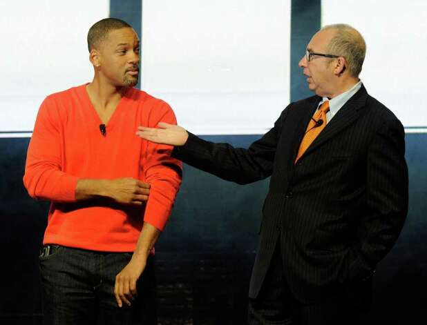 "Actor Will Smith (left) and director Barry Sonnenfeld joke around at a Sony Corp. press event at the Las Vegas Convention Center for the 2012 International Consumer Electronics Show to promote their upcoming movie, ""Men in Black III"" on January 9, 2012 in Las Vegas, Nevada. Photo: Ethan Miller, Getty Images / 2012 Getty Images"