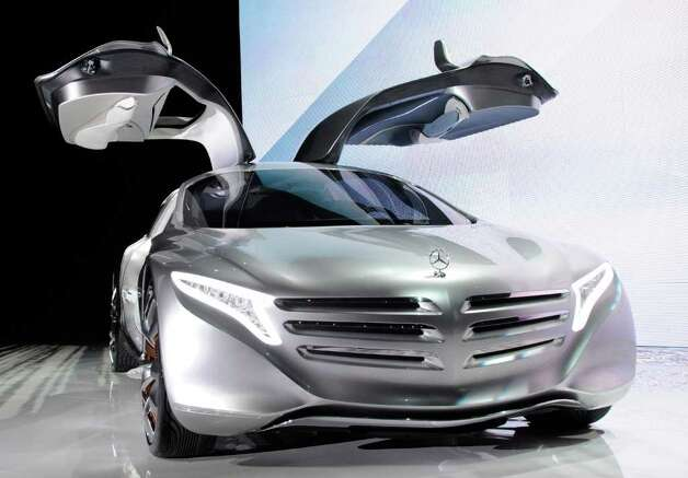 A Mercedes-Benz F125 gullwing coupe research car is displayed before a keynote address by Chairman of the Board of Management of Daimler AG and head of Mercedes-Benz Cars Dieter Zetsche at the 2012 International Consumer Electronics Show at the Las Vegas Hotel & Casino January 10, 2012 in Las Vegas, Nevada. Photo: Ethan Miller, Getty Images / 2012 Getty Images