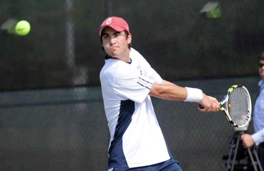Danny Hirschberg was the Class LL and State Open singles champion and led Staples to the Class LL title. Hirschberrg is now playing for Brown University and was one of the top 100 newsmakers in 2011. Photo: Bob Luckey, Bob Luckey/Staff Photographer / Greenwich Time