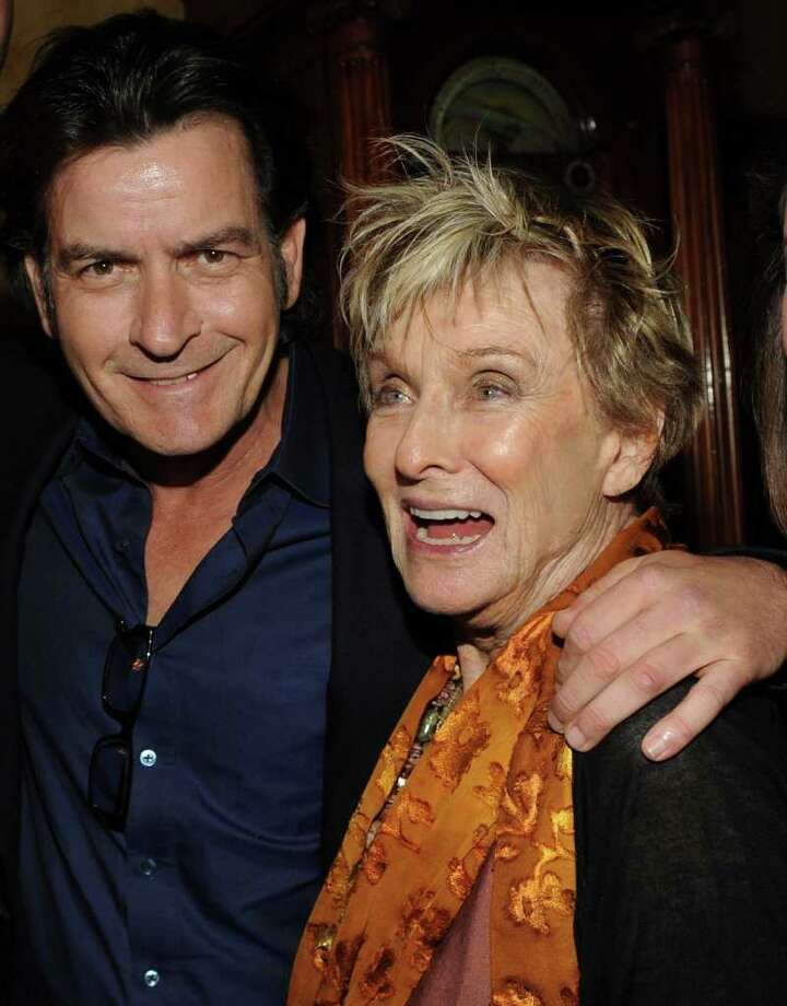 Charlie Sheen poses with Cloris Leachman at a Fox party during the TV critics winter press tour. Photo: Fox