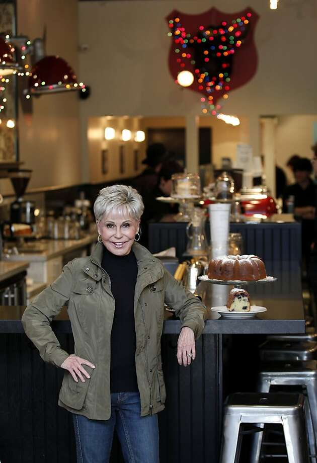 Beach Blanket Babylon producer Jo Schuman Silver poses by her favorite blueberry bunt cake at Jane bakery at 2123 Fillmore Street Thursday, December 1, 2011 in San Francisco, Calif. Photo: Beck Diefenbach, Special To The Chronicle