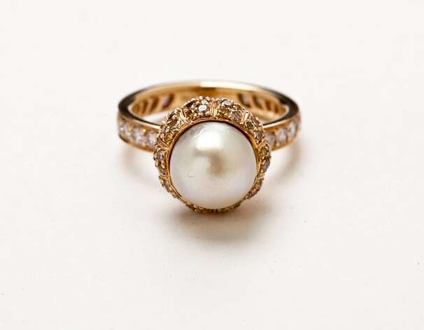 This pearl and diamond ring from Wilkes Bashford is TK TK. Photo: Russell Yip, The Chronicle