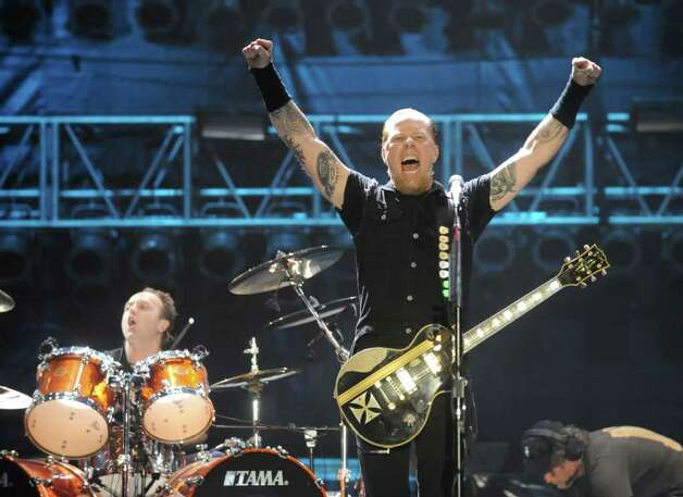 MANCHESTER, TN - JUNE 13:  Lars Ulrich, left, and James Hetfield of Metallica perform at the 2008 Bonnaroo Music and Arts Festival on June 13, 2008 in Manchester, Tennessee. Photo: Jeff Gentner, Getty Images / 2008 Getty Images