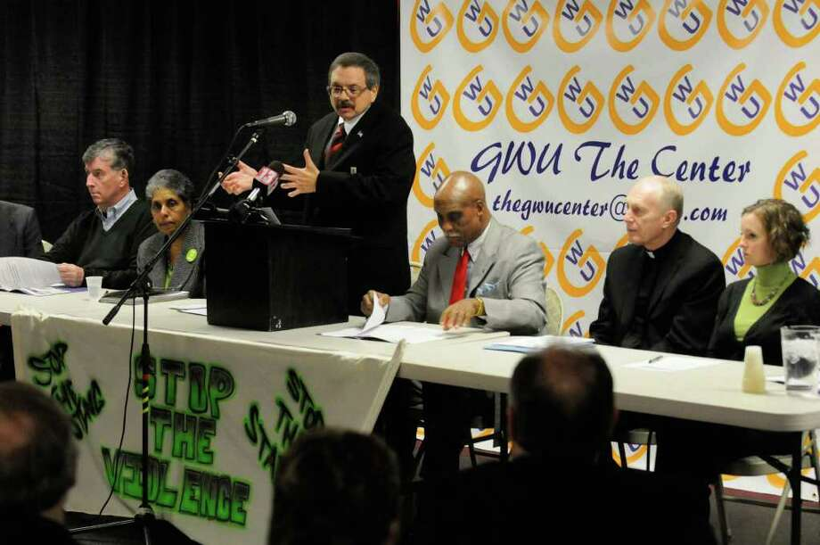 Albany Common Council member Dominick Calsolaro speaks during a press conference in support of Albany SNUG anti-violence initiative at the God With Us Center in Albany,NY Thursday, Jan.12, 2012. ( Michael P. Farrell/Times Union) Photo: Michael P. Farrell
