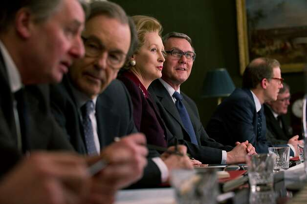 Meryl Streep as Margaret Thatcher and Anthony Head as Geoffrey Howe in Phyllida Lloyd's film THE IRON LADY Photo: Alex Bailey, The Weinstein Co.