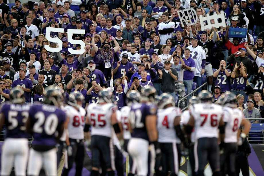 Ravens fans made plenty of noise at M&T Bank Stadium this past Oct. 16, helping Baltimore to a 29-14 win over the Texans, the Ravens' fifth consecutive win in the series without a loss. Photo: Brett Coomer / © 2011  Houston Chronicle